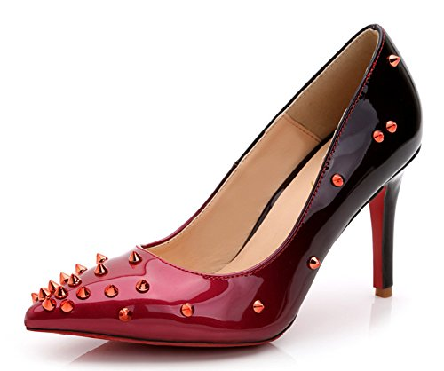 Aisun Womens Sexy Gradient Studded Patent Leather Low Cut Pointy Toe Dress Slip On Pumps Party Stiletto High Heels Shoes Red THUJS