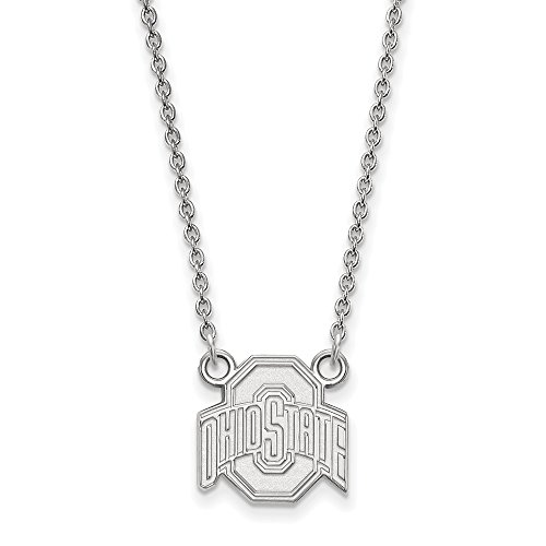 Roy Rose Jewelry 10K White Gold LogoArt Ohio State University Small Pendant Necklace - Ohio State University Seal Pendant