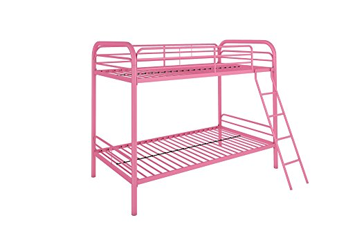 DHP Twin-Over-Twin Bunk Bed with Metal Frame and Ladder, Space-Saving Design, Pink by DHP