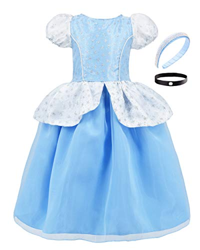 JiaDuo Cinderella Costume for Girls Princess Party Dress Up 3-4 Years Blue