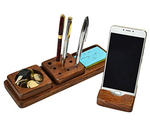 Wood Desk Organizer Phone Stand Oak Men's Gift Compatible with Any Phone