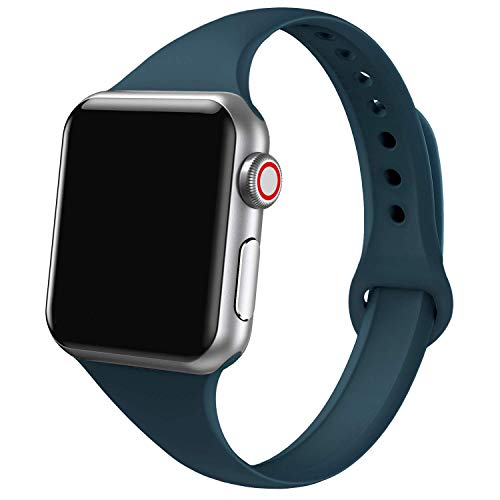 SWEES Sport Bands Compatible with Apple Watch 38mm 40mm 42mm 44mm, Soft Silicone Slim Thin Narrow Small Wristbands Compatible with Apple Watch Series 5, Series 4, Series 3, Series 2, Series 1 Nike+, Sport, Edition iWatch Women Men Black, Gray, White, Pink Sand, Stone