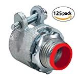 Flexible Metal Conduit Malleable Iron Squeeze Connectors (Straight, 1/2 In. Insulated (125-Pack))