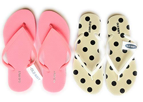 Old Navy Flip Flop Sandals for Woman, Great for Beach or Casual Wear (9, Black dots and Pink)