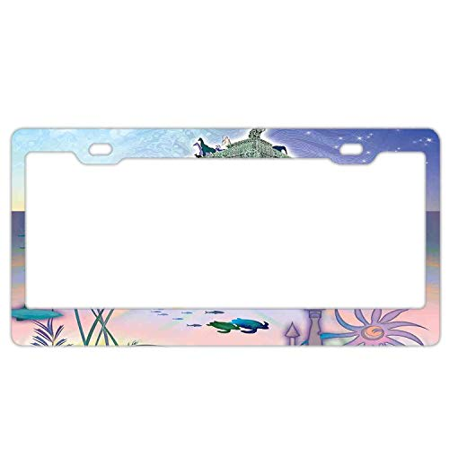 Hizhongmen Ancient Underwater with Octopus and Castle Pirate Ship Coral Reefs Fantasy Art Print Car Accessories Metal License Plate Frame (New) 12