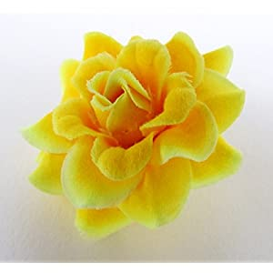 """(50) Silk Yellow Roses Flower Head - 1.75"""" - Artificial Flowers Heads Fabric Floral Supplies Wholesale Lot for Wedding Flowers Accessories Make Bridal Hair Clips Headbands Dress 4"""