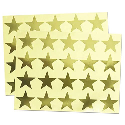 1.5 Metallic Gold Foil Star Sticker Label Sheets - Pack of 500