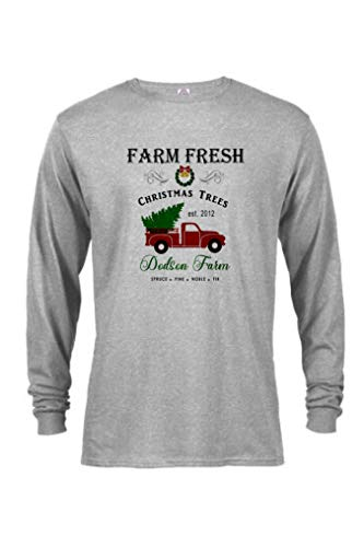 County Red Truck Farm Fresh Trees Custom Long Sleeve T-Shirt Vintage Country Christmas (2X, Grey)