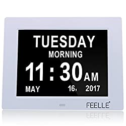 New Version 5 Alarms Dementia Clock, FEELLE Large Display Memory Loss Digital Calendar Day Clock for Impaired Vision, Dementia, Alzheimer's(2 Color Display and Auto-Dim Setting)