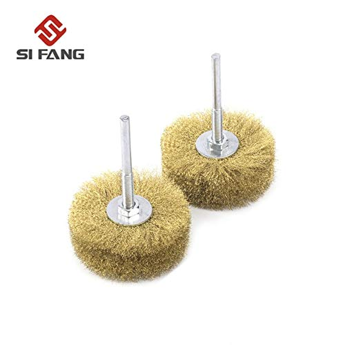 1//2Pcs 80mm Copper Wire Wheel Brush 6mm Shank for Dremel Rotary Tool Accessories Grit: 2Pcs Stock-Home Abrasive Tools