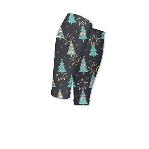 Eoyles gy Support Circulation Christmas Tree with Stars Travel Calf Sleeves Compression Perfect for Men Women