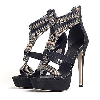 YFF Sandales femmes Printemps Été Automne Chaussures Club Gladiator Fleece Glitter Mariage & robe de soirée boucles et fermeture éclair Strass,Black,US9.5-10 / EU41 / UK7.5-8 / CN42