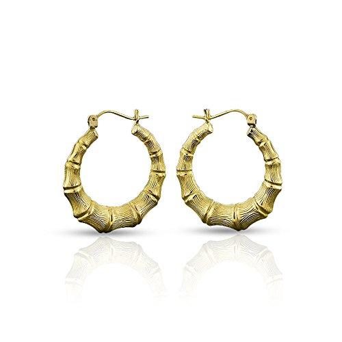 10k Yellow Gold Womens Fancy Bamboo Door Knocker Hoop Earrings Sizes 1.1