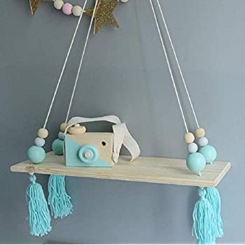 HAI+ Rope Hanging Floating Shelves, Wall Hanging Rope Shelves for Living Room, Bedroom, Bathroom and Kitchen (Blue)