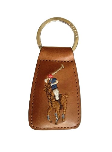 Polo Ralph Lauren Multi-Color Big Pony Key Chain Fob Leather Tan ()