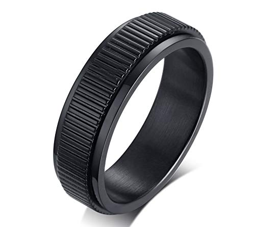 PJ Jewelry 6mm Men's Stainless Steel Rotating Center Camera Lens Design Spinner Band Ring,Size 9