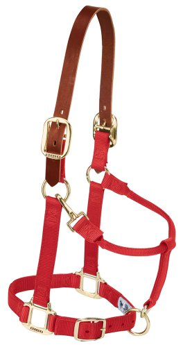 (Weaver Leather Nylon Adjustable Breakaway Horse Halter, Large, Red)
