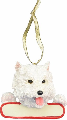 E&S Pets Westie Ornament White Santa's Pals with Personalized Name Plate A Great Gift for Westie Lovers (Westie Ornaments)