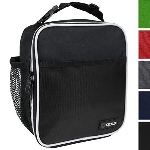 (OPUX Premium Insulated Lunch Box | Soft Leakproof School Lunch Bag for Kids, Boys, Girls | Durable Reusable Work Lunch Pail Cooler for Adult Men, Women, Office - Fits 6 Cans (Black))