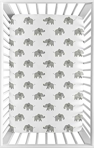 Sweet Safari Crib Sheet - Sweet Jojo Designs Grey and White Baby Boy or Girl Unisex Fitted Mini Portable Crib Sheet for Watercolor Elephant Safari Collection - for Mini Crib or Pack and Play ONLY