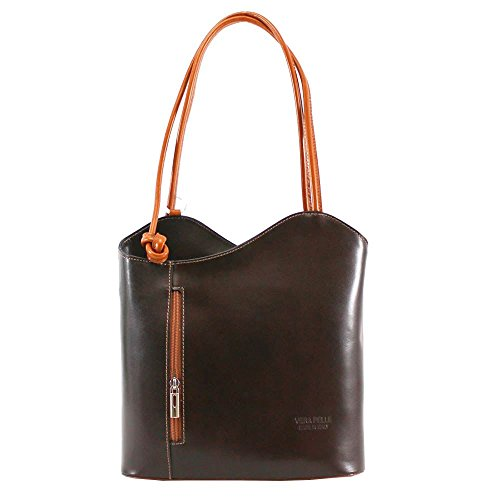 Coffee Two Tone Leather Printed Ladies New tan Shoulder Convertible Bag Pelle Real Plain Vera XIp57q