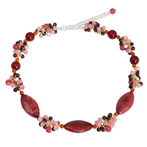 (NOVICA Multi-Gem Cultured Freshwater Pearl Silver Plated Beaded Necklace, 15.75