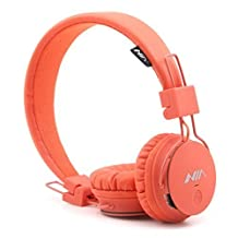 GranVela X2 Over-Ear Bluetooth Headphones, Foldable 4 in 1 Stereo Kids Headset Wireless Handsfree Earphone with Mic and MicroSD Card Player, Radio, AUX for iPhone, Samsung and More - Orange