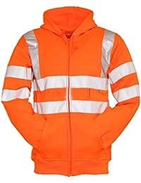 Forever Mens High Visibility Hi Vis Safety Hooded Sweatshirt Top