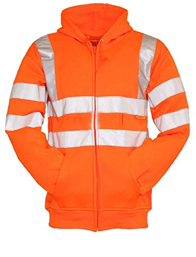 Forever High Visibility Hi Vis Safety Hooded Sweatshirt Top ()