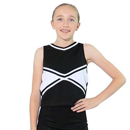Danzcue Girls 2-Color Kick Sweetheart Cheerleaders Uniform Shell Top, Black-White, X-Small