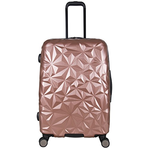 Aimee Kestenberg Womens Geo Chic 24 Hardside Expandable 8-Wheel Spinner Checked Luggage, Rose Gold
