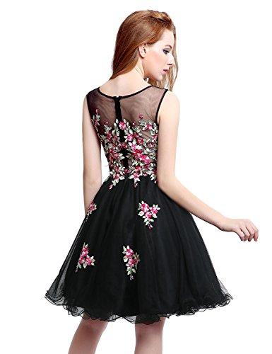 Robes De Bal Courte Cou Pure De Belle Femme Maison Tulle Robe De Retour Aux Sources De Perles Noir Lx201