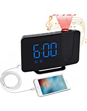 Projection Alarm Clock Radio, Livany Digital Alarm Clock with USB Charger/Projection on Ceiling, Loud Dual Alarm Clock, Simple Projector Alarm Clock for Heavy Sleepers Adults Elderly Bedroom Bedside