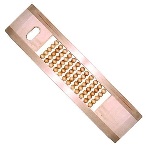 (Rehabilitation Advantage Maple Scooter Tapered Transfer Board with Wood Rolling Beads and Hand Hole, 32