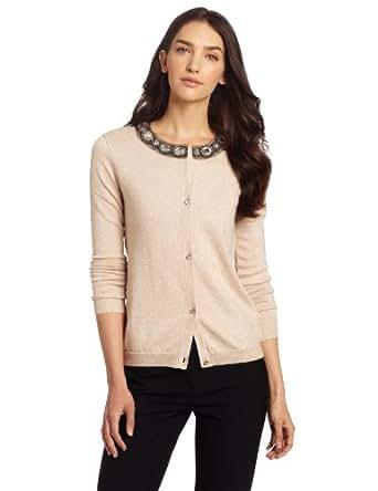 Jones New York Women's Crew Neck Embellished Cardigan Sweater, Black/Ivory, X-Large