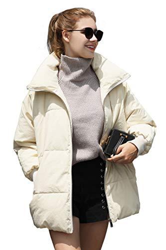 Winter Jacket Coat Women Puffer Anorak Lightweight Short Jacket Quilted Snow Warm Jacket Women Down Top Sleeve Coat Bubble Fashion Ladies Jacket Waterproof Zip Sport Jacket Casual Beige Women Coat XL