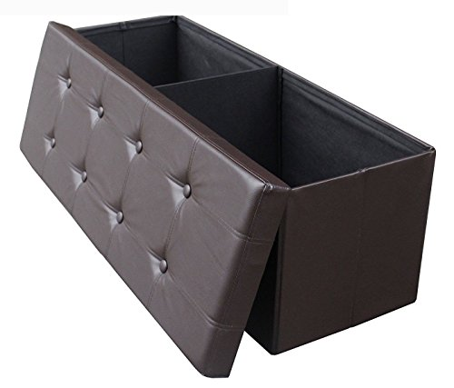 ShellKingdom Faux Leather Folding Shoe Storage Ottoman Cubes Bench, Foot Rest Stool Seat Table Pouf Footstools and Ottomans 43 1/4