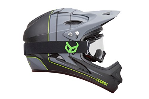 Demon Podium Full Face Mountain Bike Helmet with Black Viper MTB Goggles (Large)