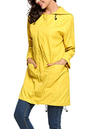 Impermeable Parka Abrigo Para Meaneor Amarillo Mujer q5Zg11Ewn