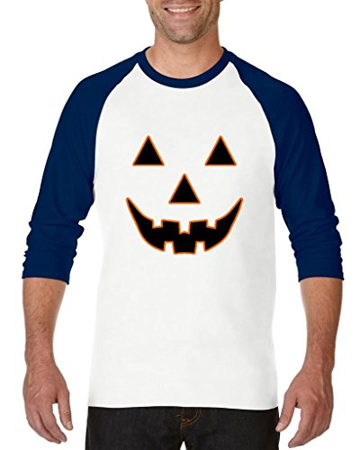 (Xekia Jack O' Lantern Pumpkin Face Halloween Fashion Party People BFF Couples Gifts Unisex Raglan Baseball T-Shirt Large White)