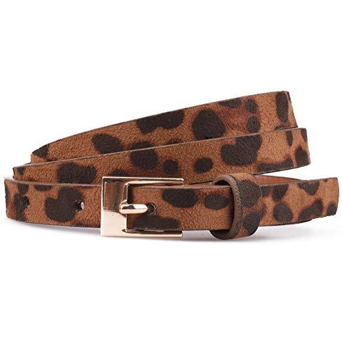 Tanpie Women's Leopard Belt Skinny Print Suede leather Thin Waist Belts for Jeans Pants Dresses Brown S