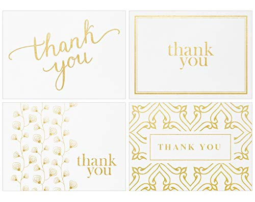100 Thank You Cards Bulk - Thank You Notes, White & Gold - Blank Note Cards with Envelopes - Perfect for Business, Wedding, Graduation, Bridal and Baby Shower - 4x6 Photo Size (white) (You Cards Thank Teen)