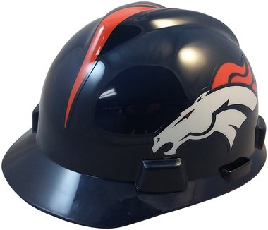 MSA NFL Safety Hard Hats with Staz On Suspension - Denver Broncos Hard Hats by MSA