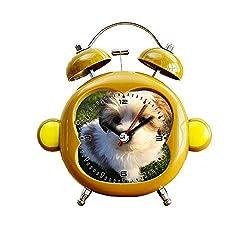 GIRLSIGHT1 Children's Room Monkey Style Silent Alarm Clock Twin Bell Mute Alarm Clock Quartz Analog Bedside and Desk Clock with Nightlight- 300.Luna Bella. 10 Week Old Shihtzu Baby