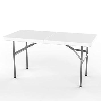 Leogreen - Table Jardin, Table Pliante Jardin Camping BBQ Barbecue  Pique-Nique Party Buffet Table 122 x 61 x 74 cm, Blanc