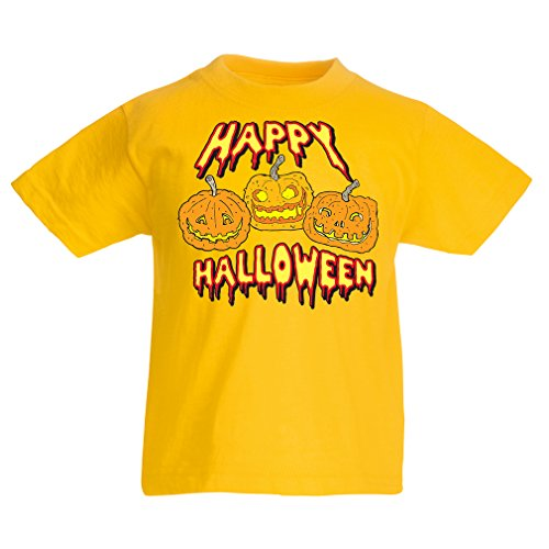 lepni.me Kids T-Shirt Happy Halloween! Party Outfits & Costume - Gift Idea (1-2 Years Yellow Multi -