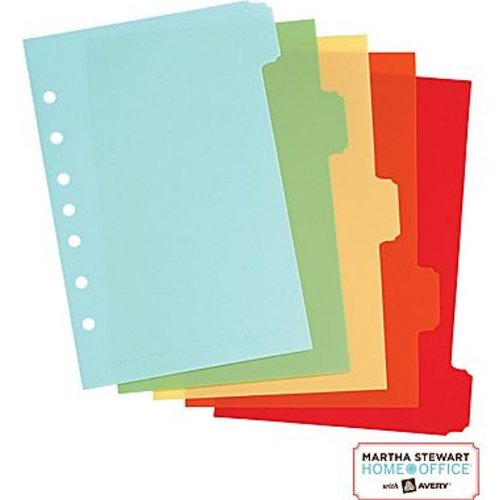 Martha Stewart Home Office w/ Avery 5-Tab Small-Format Plastic Dividers, Assorted, Classic, 5-1/2