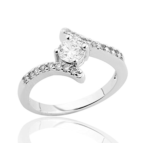GULICX Silver Plated Tone Center Prong Round Wave Cubic Zirconia Engagement Ring Clear (Round Tone Center)