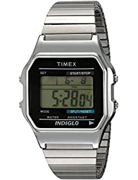 Mens T78582 Classic Digital Silver-Tone Extra-Long Stainless Steel Expansion Band Watch