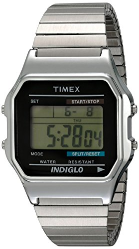 Timex Men's T78582 Classic Digital Silver-Tone Extra-Long Stainless Steel Expansion Band (Timex Stainless Steel Wrist Watch)